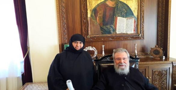 Η Γερόντισσα της Μονής Αγίας Θέκλης στον Αρχιεπίσκοπο Κύπρου