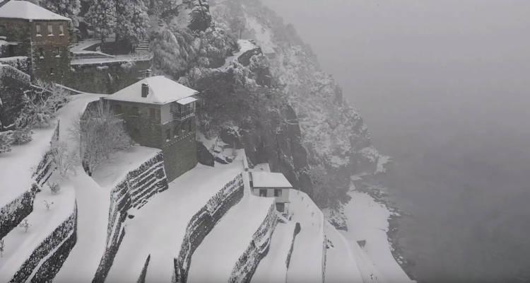 Χιόνια και πάλι στο Άγιον Όρος 2019