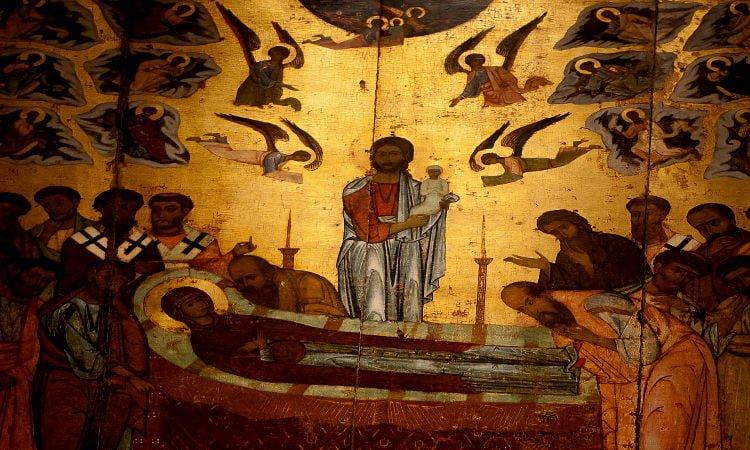Λαμπάς η Θεοτόκος Πανήγυρις Ιεράς Μονής Ιερουσαλήμ Δαυλείας Αγρυπνία Αποδόσεως Κοιμήσεως Θεοτόκου στην Σκιάθο
