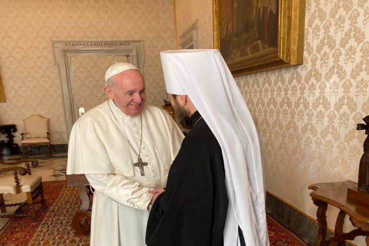 Συνάντηση του Μητροπολίτη Βολοκολάμσκ με τον Πάπα Ρώμης