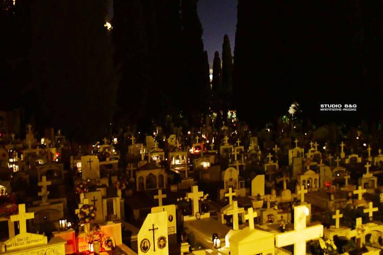 Με εντολή του Δημάρχου Ναυπλιέων άναψαν όλα τα καντήλια στο Κοιμητήριο της πόλης
