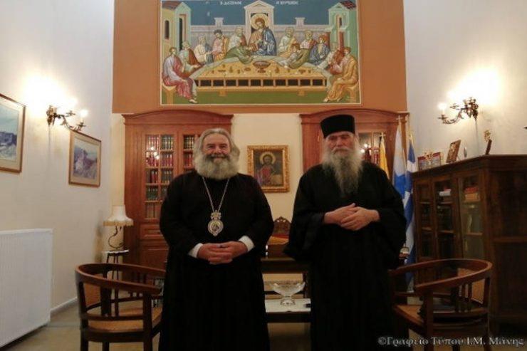 Επίσκεψη γέροντος Σκήτης Αγίας Άννης του Αγίου Όρους στον Μητροπολίτη Μάνης