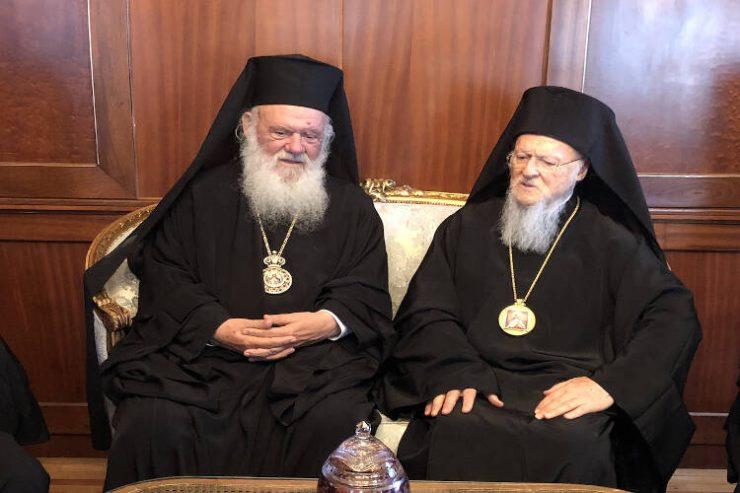 Ευχές από τον Οικουμενικό Πατριάρχη προς τον Αρχιεπίσκοπο Αθηνών