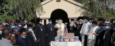 Ο Πατριάρχης Αλεξανδρείας στον τάφο του Επισκόπου Γκαδούνα