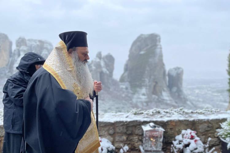 Τεσσαρακονθήμερο μνημόσυνο της μακαριστής γερόντισσας Φιλοθέης στα χιονισμένα Μετέωρα