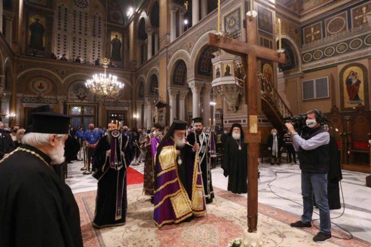 Με ιδιαίτερη κατάνυξη τελέστηκε η Ακολουθία των Αγίων Παθών στον Καθεδρικό Ιερό Ναό Αθηνών