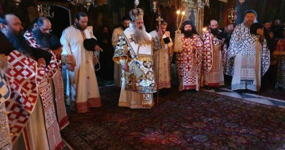 Ο Μητροπολίτης Σταγών και Μετεώρων Θεόκλητος στην Ιερά Μονή Αγίου Διονυσίου Αγίου Όρους