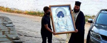 Υποδοχή ιεράς εικόνος Παναγίας Γλυκοφιλούσης στη Μητρόπολη Θεσσαλιώτιδος