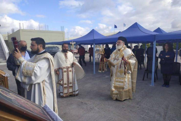 Θεία Λειτουργία στους σεισμόπληκτους του Αρκαλοχωρίου